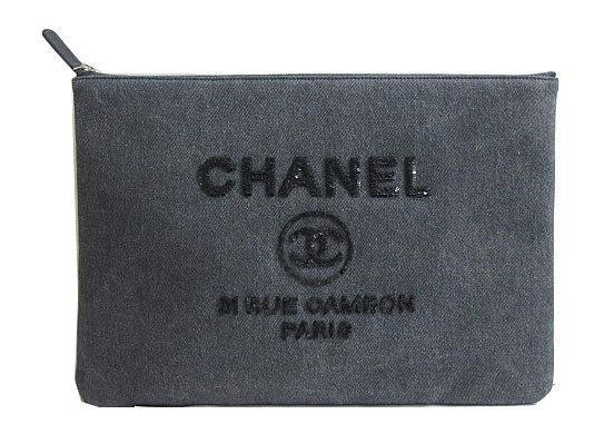 ≪新品≫ CHANEL シャネル ドーヴィル クラッチバッグ スパンコール キャンバス×チャコール デニム グレー A80117Y61347 箱・リボンでのラッピング