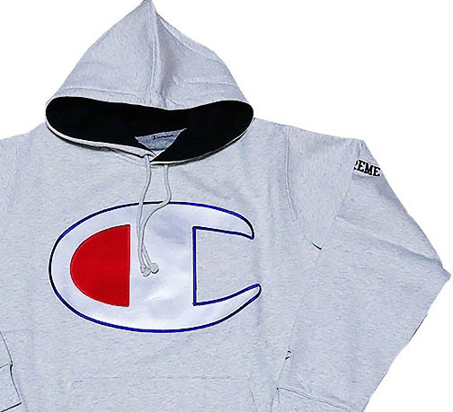 ≪新品≫ 17SS SUPREME / Champion Satin Logo Hooded Sweatshirt Mサイズ パーカー フーディ グレー チャンピオン