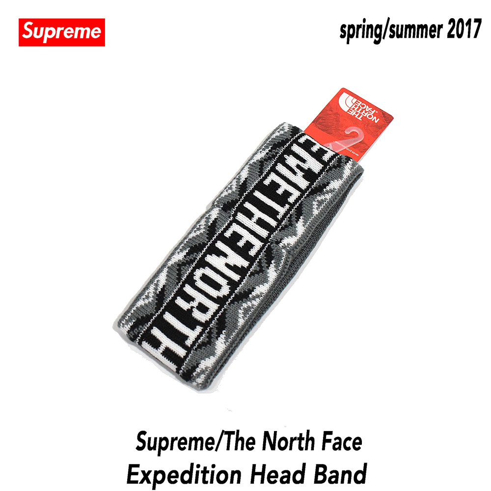 ≪新品≫ シュプリーム ノースフェイス 17SS Supreme X North Face SUPREME/TNF Trans Antarctica Expedition Headband Black ヘアバンド