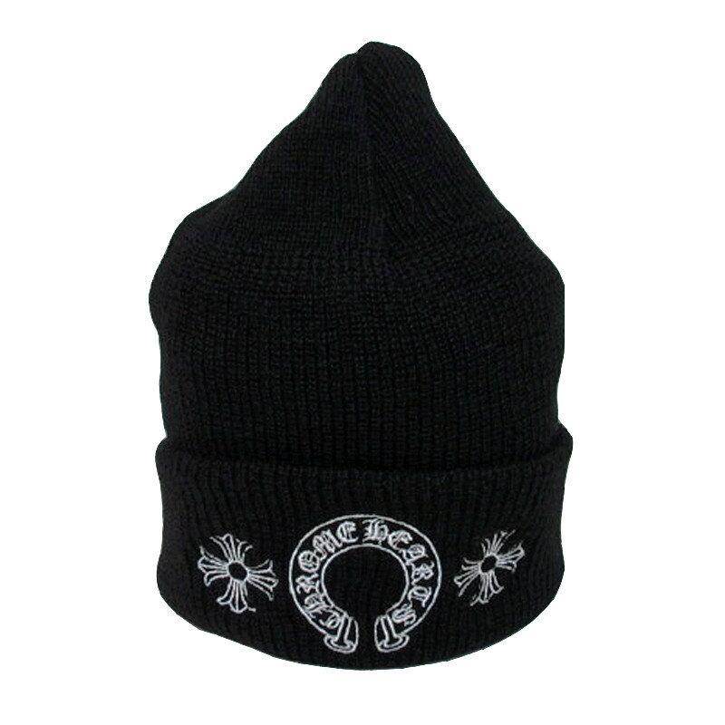 正規品 新品 2016AW クロムハーツ クロスボール ニット帽 黒 ブラック ショッパー付