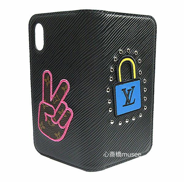 ≪新品≫ルイヴィトン iphone X 10 10S フォリオ エピ パッチワーク Black 黒 二つ折り スマホ 携帯ケース アクセサリー モバイル M63724 LOUISVUITTON ビトン ブラック プレゼントラッピング