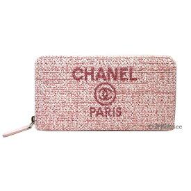 450fa0475cc1 新品≫CHANEL シャネル 2019年クルーズ ドーヴィルシリーズ ラウンドファスナー長財布 ピンク ツイード