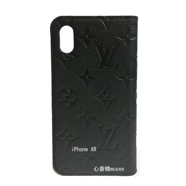 ≪新品≫ルイヴィトン フォリオ iPhone XR 10R 二つ折り スマホ 携帯ケース アンプラント 黒 M67492 アクセサリー モバイル 箱 リボン ラッピング LOUISVUITTON アイフォン ビトン エックスアール