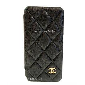 ≪新品≫ CHANEL シャネル クラッシックケース 手帳型 携帯ケース iphone 7+ 8+ A83567 キャビアスキン 黒 ブラック×ゴールド金具 二つ折り アイフォン スマホケース マトラッセ ラッピング 手帳型IPHONE  黒