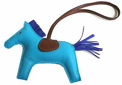 エルメス ロデオ 「GRIGRI RODEO」 馬 革 チャーム MM ブルーアズティック×ブルーエレクトリック