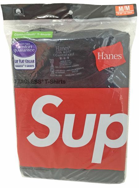 新品 シュプリーム 直営店購入 Supreme × Hanes 3パックTシャツ 黒 Mサイズ