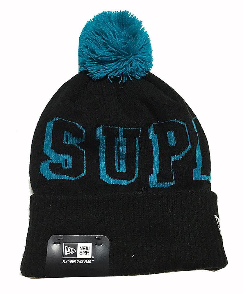 ≪新品≫ Supreme シュプリーム NewEra ニューエラ BANNER BEANIE ニット帽子 ボンボン付き ネイビー×ブルー