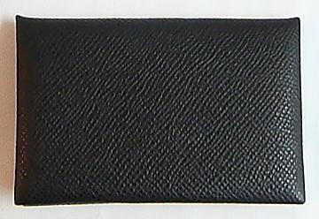 ≪新品≫ 箱リボンのラッピング エルメス カードケース 「カルヴィ」 黒 ブラック エプソン 名刺入れ
