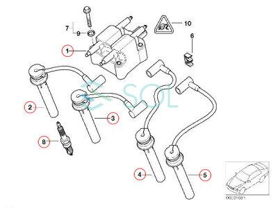 BMWMINIR50R52R53イグニッションコイル+プラグコード+スパークプラグ1台分セット1213751073812127513032121275130331212751303412120141871