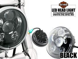 Harley-Davidson(ハーレーダビッドソン) スポーツスター ダイナ ソフティル VRSC 純正交換タイプ LEDプロジェクターヘッドライト 5 3/4インチ ブラック 黒(WIN56BK)