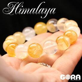 金運祈願 パワーストーン 天然石 ブレスレット AAAAAゴールドヒマラヤ水晶 12mm 一連 ヒマラヤ 水晶