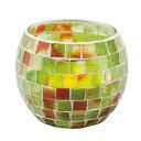 《モザイクガラスから漏れるキャンドルライトが美しい》イシグロ モザイクキャンドルホルダー50065クリアグリーン・イ…