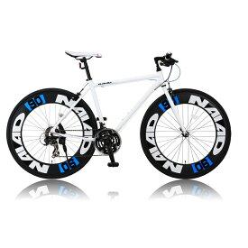 《700Cアルミニウム製の90mmエアロディープリム搭載》CANOVER 700x28C 21段変速クロスバイクCAC-023 NAIADフレームサイズ 490mm(25584)ホワイト