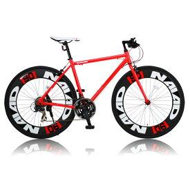 《700Cアルミニウム製の90mmエアロディープリム搭載》CANOVER 700x28C 21段変速クロスバイクCAC-023 NAIADフレームサイズ 490mm(25585)レッド
