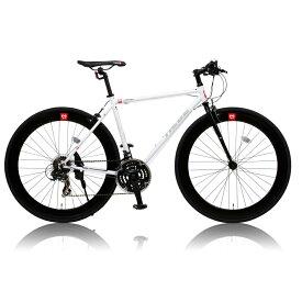 《クロムモリブデン鋼ロードフレーム採用》CANOVER 700x25C 21段変速クロスバイクCAC-024 HEBEフレームサイズ 490mm(25587)ホワイト