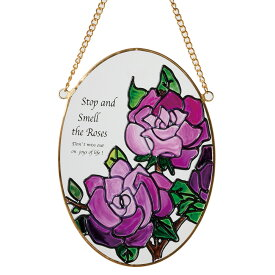 《花柄のワンポイントアイコンが玄関先を彩ります》イシグロ ステンドグラス調サンキャッチャー16050オールドローズ