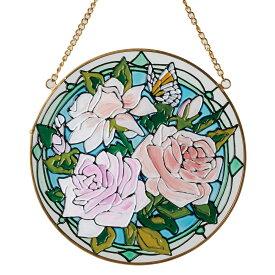 《花柄のワンポイントアイコンが玄関先を彩ります》イシグロ ステンドグラス調サンキャッチャー16055モダンローズ