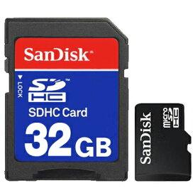 【大容量32GB】 マイクロSDHCカード 信頼の SanDisk サンディスク製 SDアダプター付き【 マイクロSDカード SDメモリーカード フラッシュメモリー データ 保存 高品質 スマートフォン PC パソコン 】 ◇ microSDHC/32GB