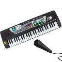 送料無料 ! 電子キーボード 録音できる 和音が弾ける 本格派 49鍵盤 多機能 デモ リズム 歌えるマイク付 電池式【 楽…