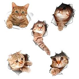 送料無料 !( メール便 )【5種類セット】顔を出したねこちゃんが可愛い♪リアルな猫ウォールステッカー 5枚セット【 壁 シール 特大 立体 3D 猫グッズ リビング ユニーク 面白い インテリア 】 送料込 ◇ とびだす猫DL