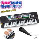 送料無料 ! 電子キーボード 録音できる 和音が弾ける 本格派 49鍵盤 デモ リズム 歌えるマイク付 電池式【 楽器 ミニ …