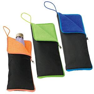折りたたみ傘用 収納ポーチ 濡れた傘をサッと収納! 超吸水マイクロファイバー製 ファスナー付き バッグの中が濡れない ペットボトルホルダー ついで買い特集【 折り畳み傘 傘ケース 傘袋