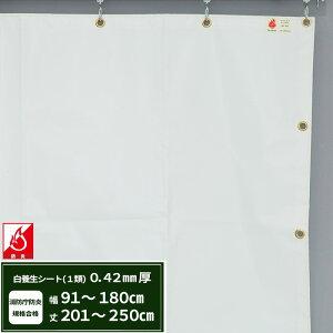養生シート エステル防炎1類 建築白養生シート 0.42mmt 【FT13】幅91〜180cm 丈201〜250cm 耐候性 防水性 雨よけ 日覆い 野積みシート テント カバー/JQ