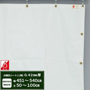 [最大10%OFFクーポンあり]養生シート エステル防炎1類 建築白養生シート 0.42mmt 【FT13】幅451〜540cm 丈50〜100cm 耐候性 防水性 雨よけ 日覆い 野積みシート テント カバー/JQ