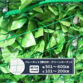 バレー・間仕切りネット 網【NET29】[440T〈400d〉/44本 100mm目] 幅501〜600cm丈101〜200cm グリーンカーテン 緑のカーテン用 JQ