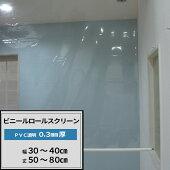 [サイズオーダー]ビニールロールスクリーン/TT31/PVC透明ビニールシート0.3mm厚/幅30〜40丈50〜80/倉庫・会社・事務所・店舗・カフェ・部屋の間仕切に!/[プルコード式チェーン式取り付け簡単日本製インテリア]《約10日後出荷》