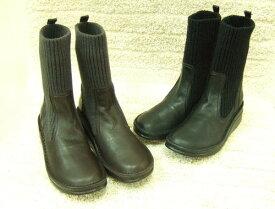 【INCHOLJE-インコルジェ-】ヒール高ショートニットブーツ(底の高さ約5センチ)☆本革☆日本製☆No.8172【甲高・幅広・外反母趾さん必見!】※新型コロナの影響により材料供給に遅延が生じているため、通常より納品が遅れる場合があります。