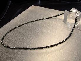 ●3Aブラックスピネル ネックレス 2.5-3ミリ 40cm アジャスター付き シルバー925