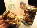 ◆彩色タイプ◆人気!夢を叶える象◆極上一級手彫り彫刻◆1体1,470円◆◆カダンバ木彫りガネーシャ置物◆高さ約6.5cm◆保証書付き◆