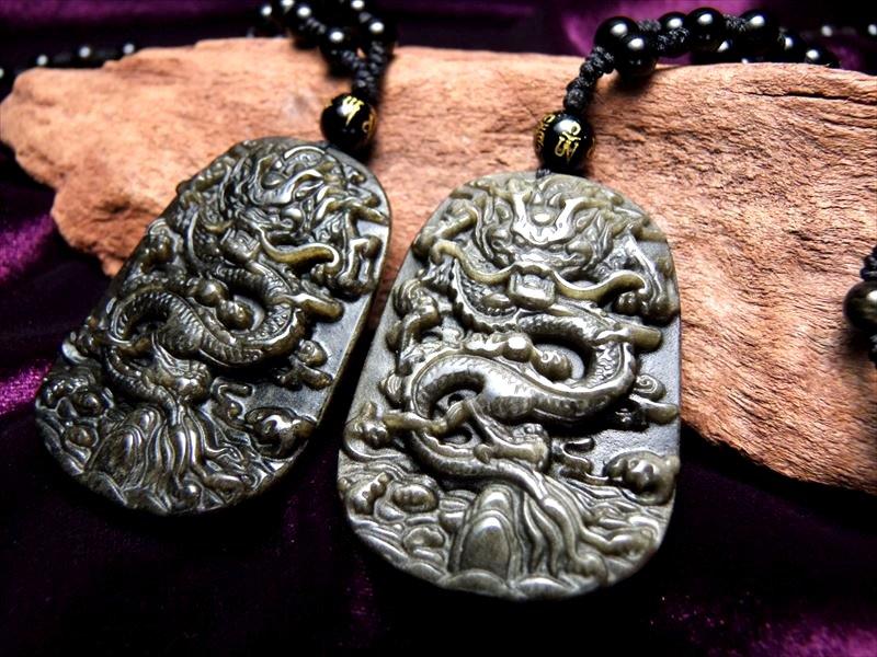 ●厄除け 激安1980円 縦52ミリ 手彫り龍ネックレス 龍彫りゴールデンシャインオブシディアン ネックレス 60cm 被れるタイプ 極上天然石 パワーストーン