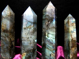 ●【ラブラドライト】六角柱重さ 80-90g鮮やかシラーラブラドライト ポイント激安大放出極上天然石【マダガスカル産】