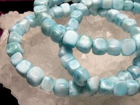 ●【スクエアータイプ】 カリブ海の宝石 AAA ラリマー ブレスレット 幅5.5ミリ-7ミリ(重さ 13g-16g) パワーストーン【ドミニカ共和国産】