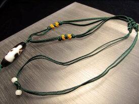 【デザイン組み紐ネックレス タイプE】首周りサイズ50-70cm 東洋の趣きを感じる緑の紐タイプ 天珠・天然石が装着可能 サイズ調節付き