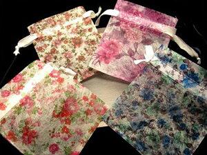 【Mサイズ 10枚入り】【高品質ブレス用 お花柄ポーチ袋】全6種 プレゼント用