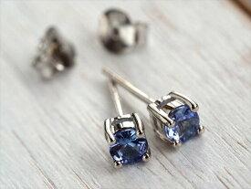 5A【宝石質タンザナイト ピアス】 Silver925 4つ爪 石サイズ直径約4mm 知性や意識を高める石 【タンザニア産】