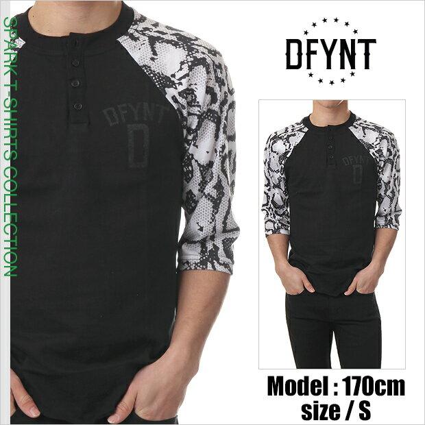 DFYNT ディファイエント Tシャツ 七分丈 テキスト ラグランヘンリーTシャツ ヘビ柄 (スネーク)