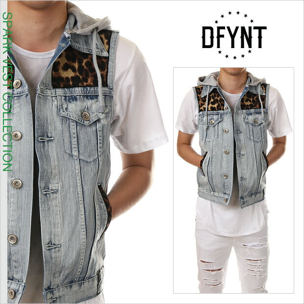 ディファイエント デニムベスト DFYNT ノースリーブ パーカー ベスト Gジャン メンズ ストリート系 ファッション ヒョウ柄