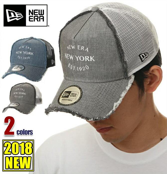 ニューエラ メッシュキャップ メンズ レディース デニム キャップ 帽子 NEW ERA CAP スナップバック ウォッシュ加工 ニューヨーク ベースボールキャップ デニム 黒 青 ブラック ブルー