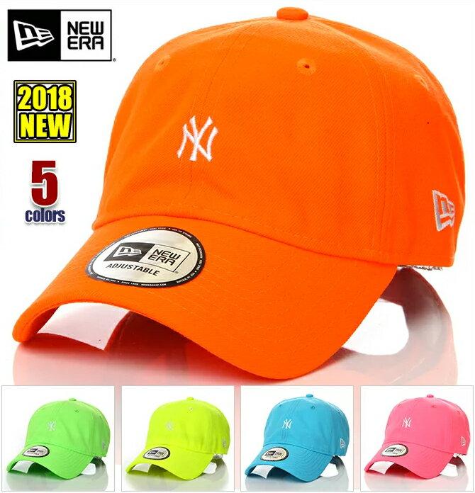 ニューエラ キャップ メンズ レディース 帽子 NEW ERA CAP ネオン ローキャップ ニューヨーク NY ヤンキース ベースボールキャップ 無地 ロゴ サイズ調整式 ユニセックス イエロー オレンジ ピンク ブルー グリーン