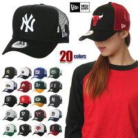 ニューエラキャップメンズレディース帽子NEWERACAPメッシュキャップベースボールキャップ黒青赤白
