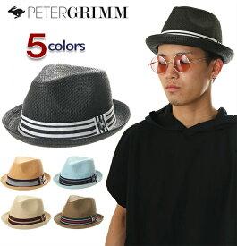 ピーターグリム ハット メンズ レディース キッズ 中折れ 麦わら PETER GRIMM ストローハット 中折れハット フェドラ デップ リボン 帽子 夏 FEDORA DEPP HAT 大きい 小さい 黒 茶 ナチュラル 青