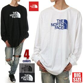 ノースフェイス Tシャツ 長袖 メンズ レディース 大きいサイズ THE NORTH FACE ビッグロゴ ロゴ Tシャツ 長袖Tシャツ ロンT ビッグTシャツ ビッグシルエット ビッグ ビッグサイズ ビッグロンT 特大 USA ブランド ファッション 3XL 白 グレー 紺