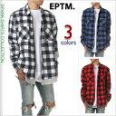 チェックシャツ メンズ EPTM エピトミ ブロックチェック ネルシャツ ダメージ加工 大きいサイズ ストリート系 USA フ…