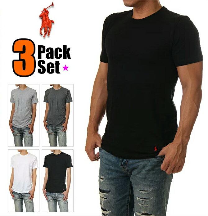 ラルフローレン Tシャツ メンズ POLO RALPH LAUREN 半袖 無地 Tシャツ メンズ 大きいサイズ ブラック ホワイト 黒 白 ブランド 3枚セット