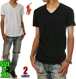 ラルフローレン Vネック Tシャツ メンズ レディース 半袖 無地 大きいサイズ POLO RALPH LAUREN ポロ ラルフ ビッグシルエット ビッグ ビッグサイズ ビッグTシャツ 部屋着 ブラック ホワイト 黒 白 ダンス 衣装 USA ブランド コットン100% 棉 S M L XL XXL