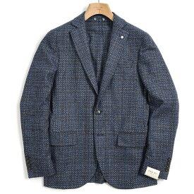 【期間限定】【半額以下】エルビーエム 1911 L.B.M. 1911 テーラード ジャケット 2Bシングル ノッチドラペル メンズ 秋冬 ウール シルク チェック ブルー イタリア ブランド サイズ M L XL 大きいサイズ